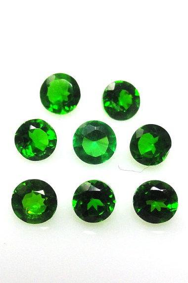 Natural Chrome Diopside- 5mm 25 Pieces Lot Faceted Round Calibrated Size Green Color - Loose Gemstone