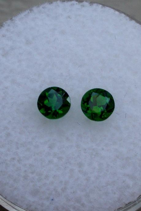 Natural Chrome Diopside- 6mm 2 Pieces Lot Faceted Round Calibrated Size Green Color - Loose Gemstone