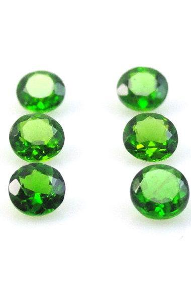 Natural Chrome Diopside- 6mm 50 Pieces Lot Faceted Round Calibrated Size Green Color - Loose Gemstone