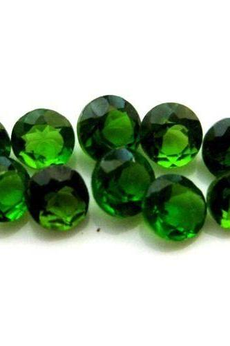 Natural Chrome Diopside- 7mm 10 Pieces Lot Faceted Round Calibrated Size Green Color - Loose Gemstone