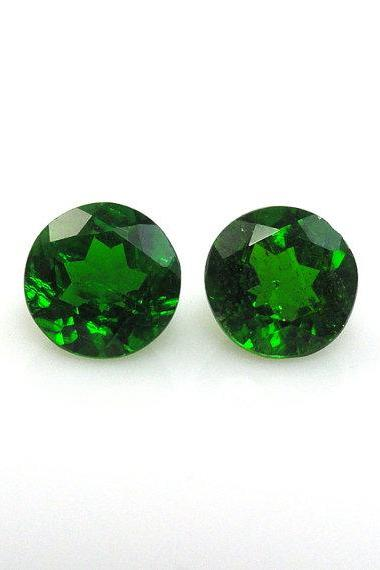 Natural Chrome Diopside- 8mm 2 Pieces Lot Faceted Round Calibrated Size Green Color - Loose Gemstone