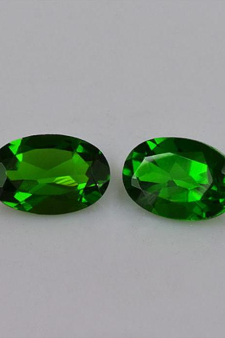 Natural Chrome Diopside- 6x4mm 2 Pieces Lot Faceted Oval Calibrated Size Green Color - Loose Gemstone