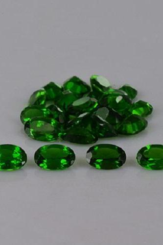 Natural Chrome Diopside- 6x4mm 10 Pieces Lot Faceted Oval Calibrated Size Green Color - Loose Gemstone
