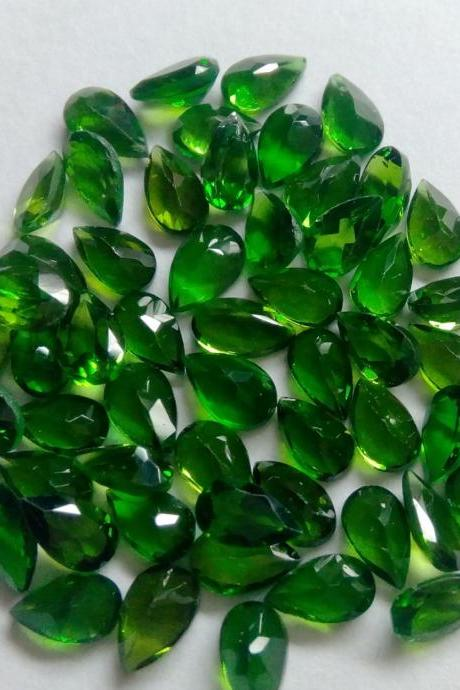 Natural Chrome Diopside- 3x4mm 5 Pieces Lot Faceted Pear Calibrated Size Green Color - Loose Gemstone