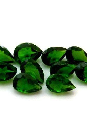 Natural Chrome Diopside- 6x4mm 5 Pieces Lot Faceted Pear Calibrated Size Green Color - Loose Gemstone