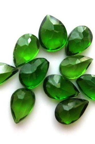 Natural Chrome Diopside- 7x5mm 50 Pieces Lot Faceted Pear Calibrated Size Green Color - Loose Gemstone