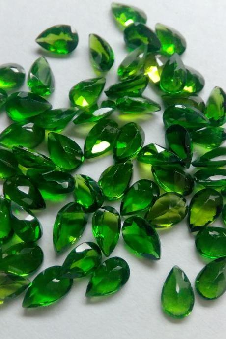 Natural Chrome Diopside- 6x8mm 10 Pieces Lot Faceted Pear Calibrated Size Green Color - Loose Gemstone
