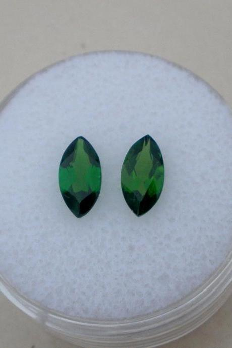 Natural Chrome Diopside- 5x10mm 2 Pieces Lot Faceted Marquise Calibrated Size Green Color - Loose Gemstone