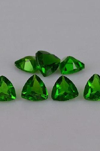 Natural Chrome Diopside- 3mm 100 Pieces Lot Faceted Trillion Calibrated Size Green Color - Loose Gemstone