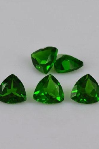 Natural Chrome Diopside- 4mm 100 Pieces Lot Faceted Trillion Calibrated Size Green Color - Loose Gemstone