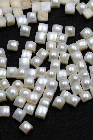 7mm Natural Fresh Water White Pearl - Half Cut Flat Back Cabochon Square 100 Pieces Top Quality White Pearl - Loose Gemstone Wholesale Lot For Sale