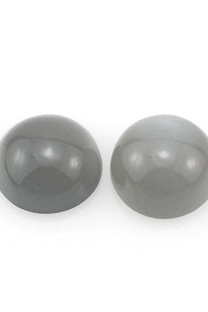13mm Natural Gray Moonstone Cabochon Round 2 Pieces Lot Top Quality Gray Color Loose Gemstone Wholesale Lot For Sale
