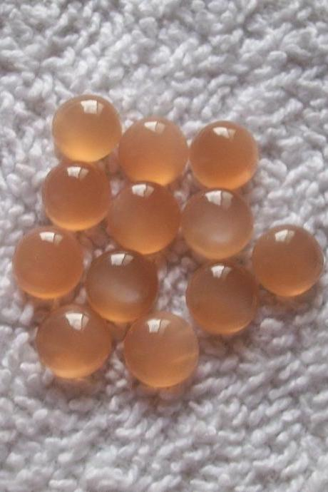 9mm Natural Peach Moonstone Cabochon Round 50 Pieces Lot Top Quality Gray Color Loose Gemstone Wholesale Lot For Sale