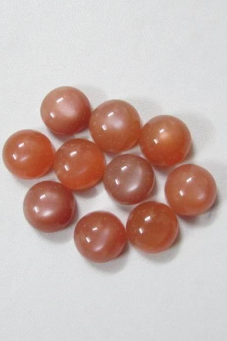 15mm Natural Peach Moonstone Cabochon Round 10 Pieces Lot Top Quality Gray Color Loose Gemstone Wholesale Lot For Sale
