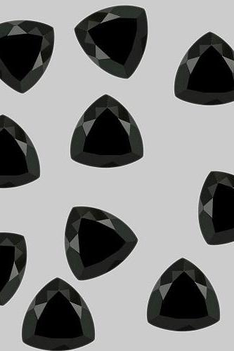 7mm Natural Black Spinel Faceted Cut Trillion 50 Pieces Lot Top Quality Black Color Loose Gemstone Wholesale Lot For Sale