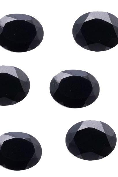 7x5mm Natural Black Spinel Faceted Cut Oval 5 Pieces Lot Top Quality Black Color Loose Gemstone Wholesale Lot For Sale