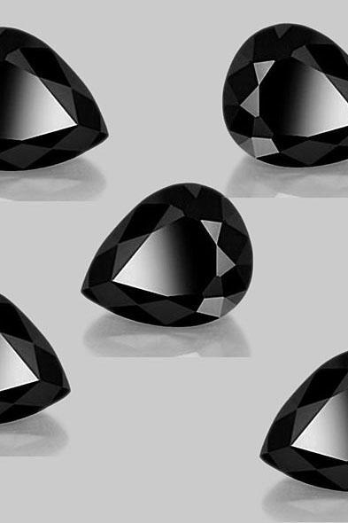 10x12mm Natural Black Spinel Faceted Cut Pear 5 Pieces Lot Top Quality Black Color Loose Gemstone Wholesale Lot For Sale