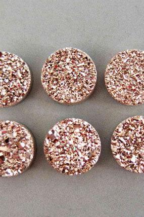 8mm Natural Rose Gold Color Coating Flat Druzy 5 Pieces Lot Round Best Top Rose Gold Color Loose Gemstone Wholesale Lot For Sale