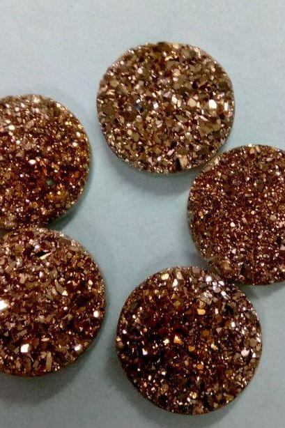 10mm Natural Rose Gold Color Coating Flat Druzy 10 Pieces Lot Round Best Top Rose Gold Color Loose Gemstone Wholesale Lot For Sale