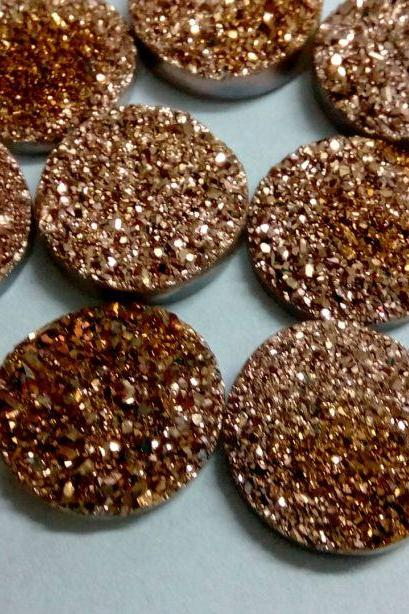 15mm Natural Rose Gold Color Coating Flat Druzy 25 Pieces Lot Round Best Top Rose Gold Color Loose Gemstone Wholesale Lot For Sale