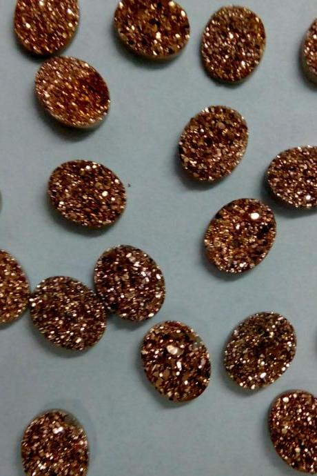 8x10mm Natural Rose Gold Color Coating Flat Druzy 2 Pieces Lot Oval Best Top Rose Gold Color Loose Gemstone Wholesale Lot For Sale