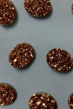 10x12mm Natural Rose Gold Color Coating Flat Druzy 5 Pieces Lot Oval Best Top Rose Gold Color Loose Gemstone Wholesale Lot For Sale