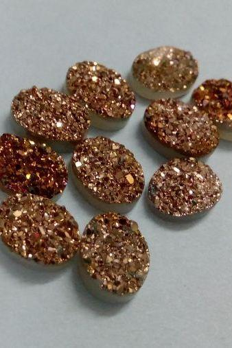 16x12mm Natural Rose Gold Color Coating Flat Druzy 2 Pieces Lot Oval Best Top Rose Gold Color Loose Gemstone Wholesale Lot For Sale