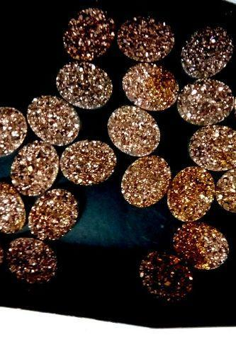 18x13mm Natural Rose Gold Color Coating Flat Druzy 10 Pieces Lot Oval Best Top Rose Gold Color Loose Gemstone Wholesale Lot For Sale