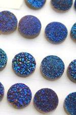 7mm Natural Blue Druzy Color Coating Flat Druzy 50 Pieces Lot Round Best Top Blue Druzy Color Loose Gemstone Wholesale Lot For Sale