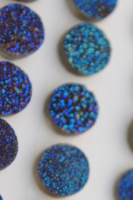 12mm Natural Blue Druzy Color Coating Flat Druzy 5 Pieces Lot Round Best Top Blue Druzy Color Loose Gemstone Wholesale Lot For Sale