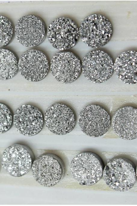 8mm Natural Sliver Druzy Color Coating Flat Druzy 2 Pieces Round Best Top Gold Druzy Color Loose Gemstone Wholesale Lot For Sale