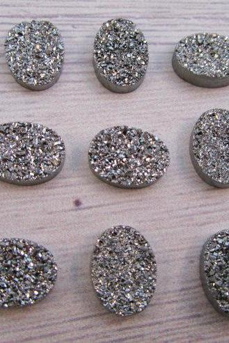 7x9mm Natural Sliver Druzy Color Coating Flat Druzy 10 Pieces Oval Best Top Gold Druzy Color Loose Gemstone Wholesale Lot For Sale