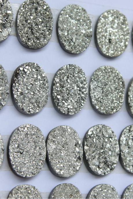 9x11mm Natural Sliver Druzy Color Coating Flat Druzy 25 Pieces Oval Best Top Gold Druzy Color Loose Gemstone Wholesale Lot For Sale