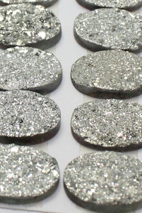 18x13mm Natural Sliver Druzy Color Coating Flat Druzy 2 Pieces Oval Best Top Gold Druzy Color Loose Gemstone Wholesale Lot For Sale