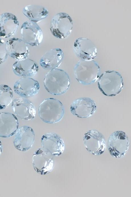 Natural Sky Blue Topaz 4mm 10 Pieces Lot Faceted Cut Round Blue Color - Natural Loose Gemstone