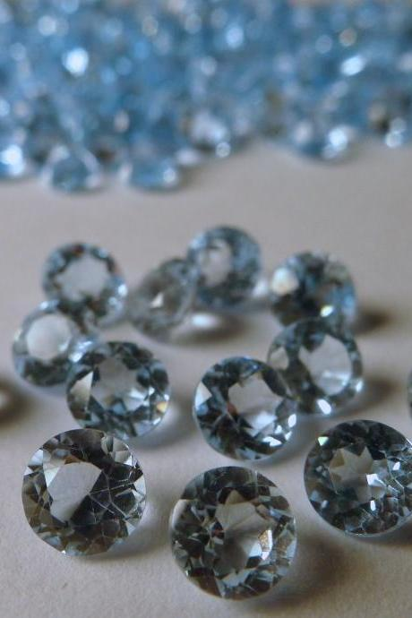 Natural Sky Blue Topaz 6mm 10 Pieces Lot Faceted Cut Round Blue Color - Natural Loose Gemstone