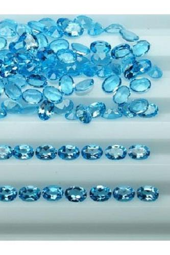 Natural Sky Blue Topaz 7x5mm 25 Pieces Lot Faceted Cut Oval Blue Color - Natural Loose Gemstone