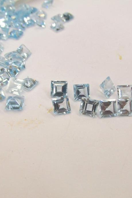 Natural Sky Blue Topaz 4mm 100 Pieces Lot Faceted Cut Square Blue Color - Natural Loose Gemstone