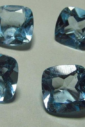 Natural Sky Blue Topaz 7mm 2 Pieces Lot Faceted Cut Cushion Blue Color - Natural Loose Gemstone