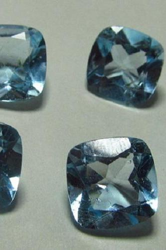 Natural Sky Blue Topaz 8mm 5 Pieces Lot Faceted Cut Cushion Blue Color - Natural Loose Gemstone