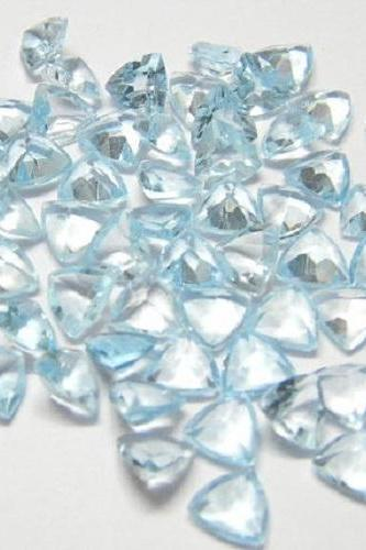 Natural Sky Blue Topaz 4mm 2 Pieces Lot Faceted Cut Trillion Blue Color - Natural Loose Gemstone