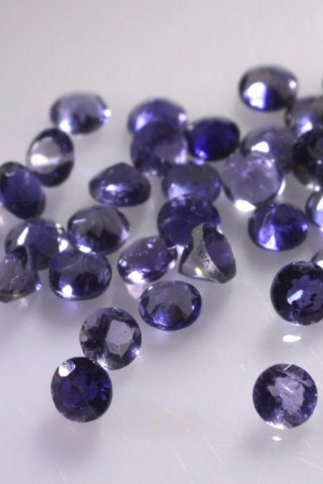 1.75mm Natural Iolite Faceted Cut Round 10 Pieces Lot Faceted Cut Blue Color - Natural Loose Gemstone