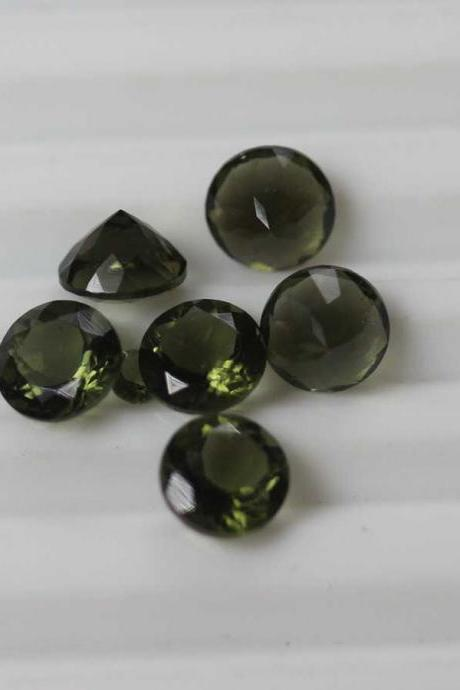5mm Natural Moldavite Faceted Cut Round Top Quality Green Color 100 Pieces Loose Gemstone Wholesale Lot For Sale