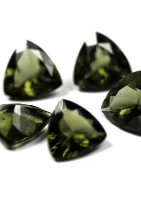 4mm Natural Moldavite Faceted Cut Trillion Top Quality Green Color 5 Pieces Loose Gemstone Wholesale Lot For Sale