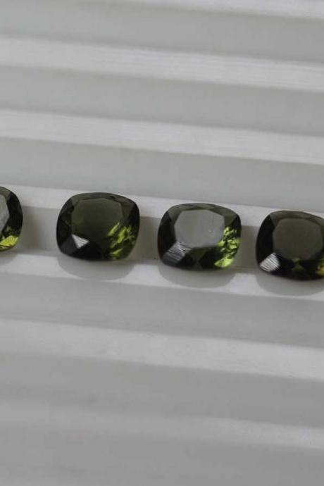6mm Natural Moldavite Faceted Cut Cushion Top Quality Green Color 5 Pieces Loose Gemstone Wholesale Lot For Sale