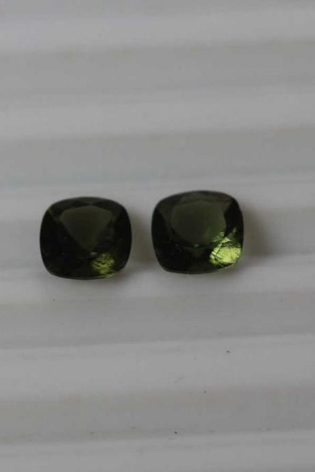 9mm Natural Moldavite Faceted Cut Cushion Top Quality Green Color 10 Pieces Loose Gemstone Wholesale Lot For Sale