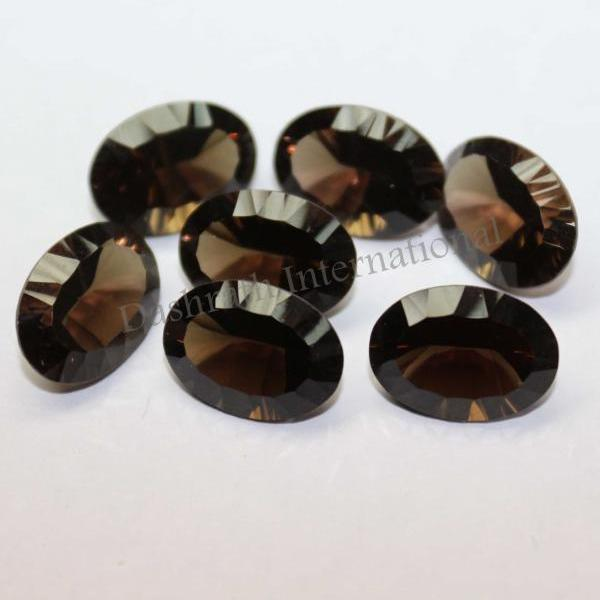 13x18mm Natural Smoky Quartz Concave Cut Oval 50 Pieces Lot Brown Color Top Quality - Natural Loose Gemstone Wholesale Lot For Sale