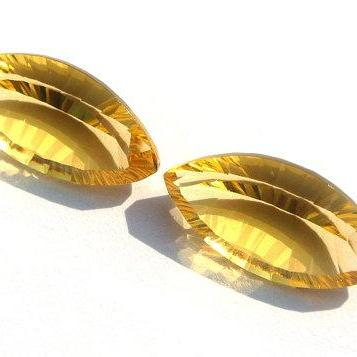 2.5x5mm Natural Citrine Concave Cut Marquise 2 Pieces (1 Pair) Calibrated Size Top Quality yellow Color Loose Gemstone