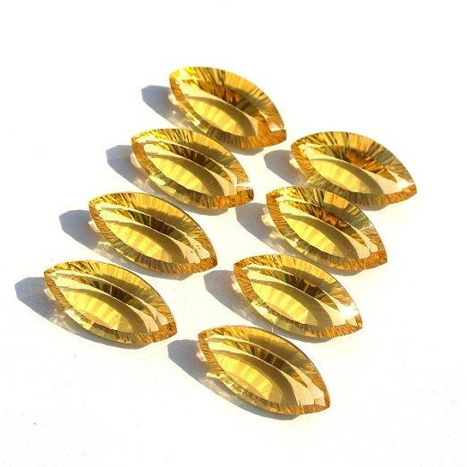 5x10mm Natural Citrine Concave Cut Marquise 2 Piece (1 Pair) Calibrated Size Top Quality yellow Color Loose Gemstone