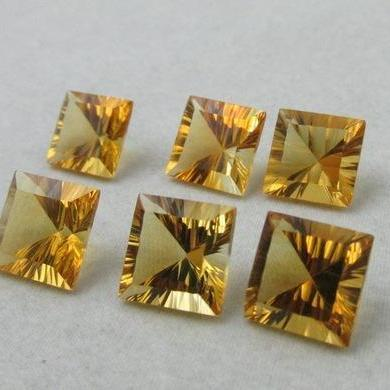 5mm Natural Citrine Concave Cut Square 25 Pieces Lot Calibrated Size Top Quality yellow Color Loose Gemstone